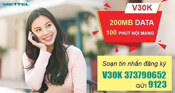 Đăng ký gói V30K Viettel ưu đãi 100 phút nội mạng + 200MB Data