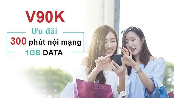 Đăng ký gói V90K Viettel ưu đãi ngay 300 phút nội mạng + 1GB Data