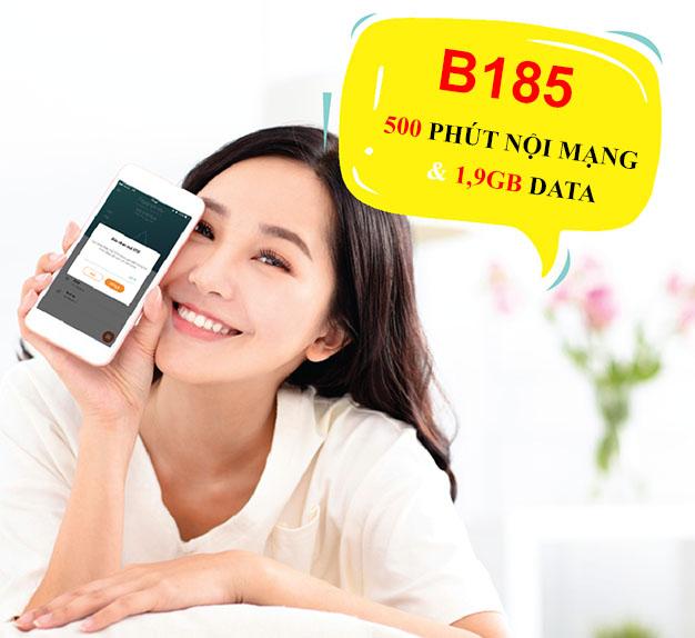 Đăng ký gói B185 Viettel ưu đãi 1,9GB Data + 500 phút gọi nội mạng
