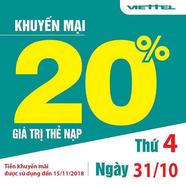 Viettel khuyến mãi tặng 20% giá trị thẻ nạp duy nhất ngày 31/10/2018