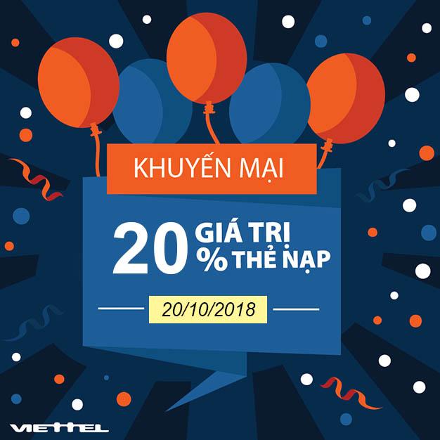 Viettel khuyến mãi tặng 20% giá trị thẻ nạp duy nhất 20/10/2018