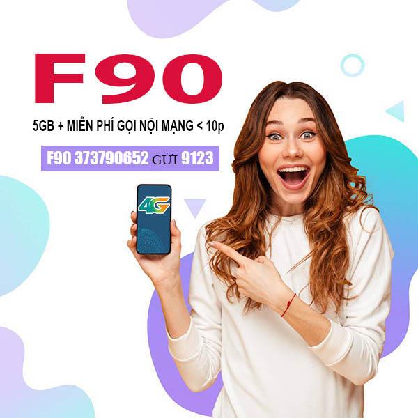 Đăng ký gói F90 Viettel ưu đãi khủng 5GB Data + miễn phí gọi nội mạng < 10p