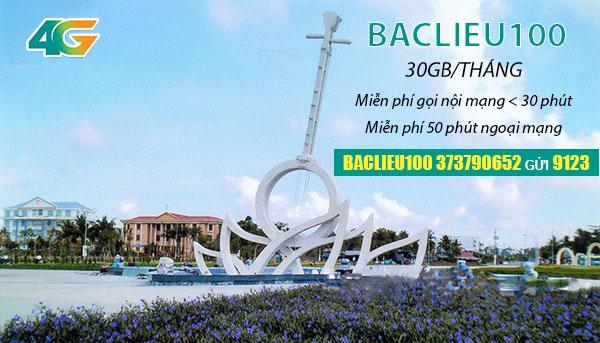 Đăng ký gói BACLIEU100 Viettel ưu đãi 30GB Data + 50 phút ngoại mạng