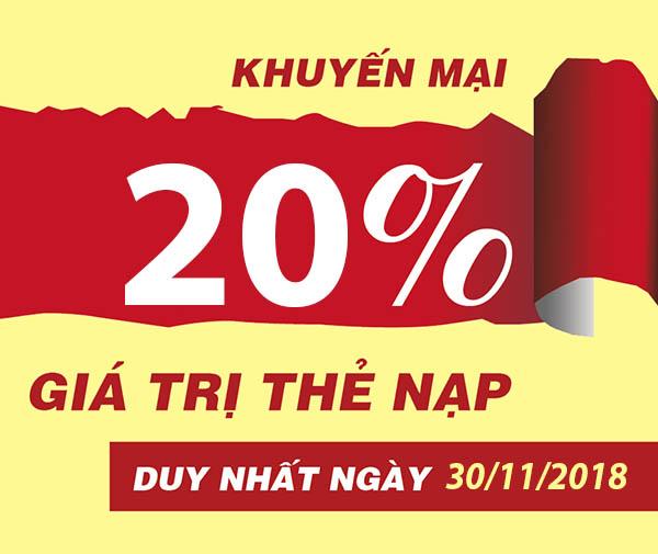 Khuyến mãi Viettel tặng 20% giá trị tất cả thẻ nạp ngày vàng 30/11/2018