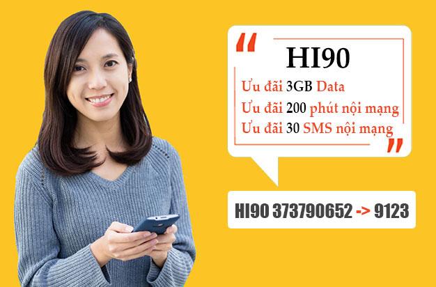 Đăng ký gói HI90 Viettel giá chỉ 90.000đ tặng 3GB + 200 phút nội mạng