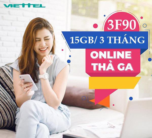 Đăng ký gói 3F90 Viettel giá 270.000đ tặng 15GB + 825 phút nội mạng