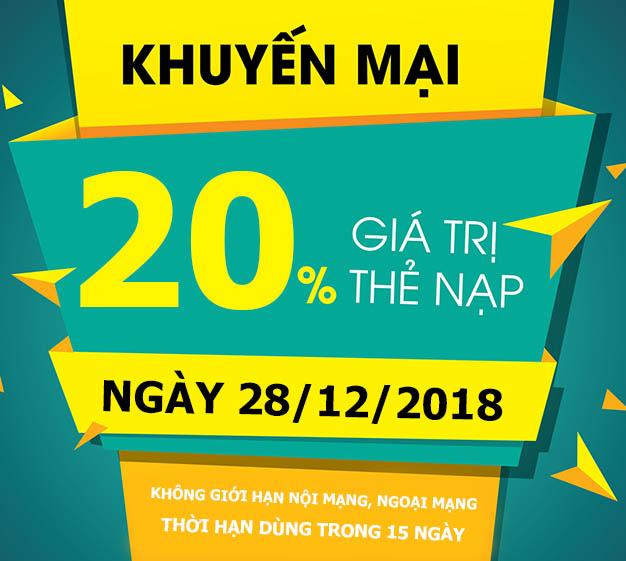 Khuyến mãi Viettel tặng 20% giá trị thẻ nạp ngày vàng 28/12/2018