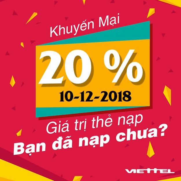 Viettel khuyến mãi tặng 20% giá trị tất cả thẻ nạp ngày 10/12/2018