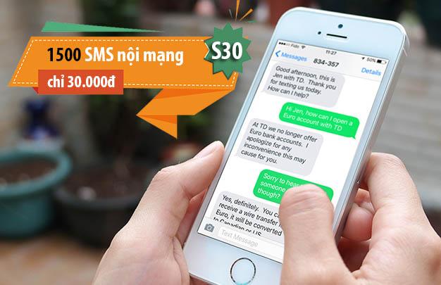 Đăng ký 1500 tin nhắn nội mạng Viettel chỉ 30.000đ/tháng - Gói S30 Viettel