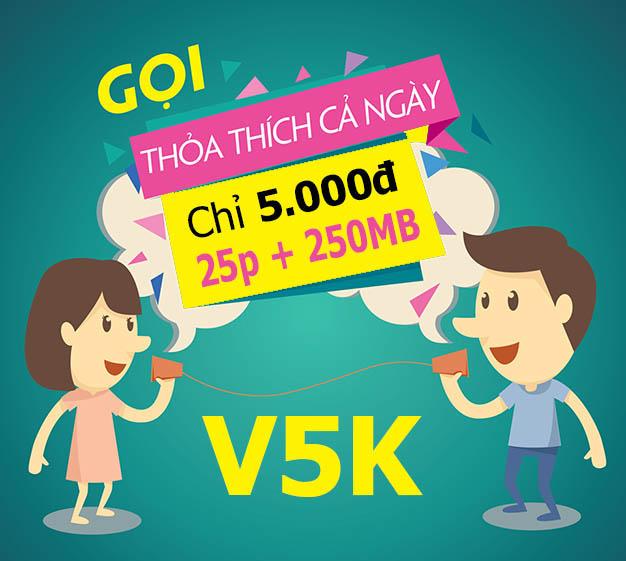 Đăng ký 25 phút gọi nội mạng Viettel + 250MB chỉ 5.000đ – V5K Viettel