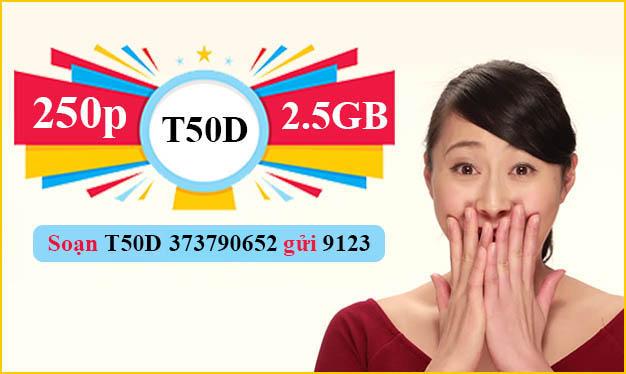 Đăng ký T50D Viettel ưu đãi 250 phút nội mạng + 2.5GB sử dụng 7 ngày