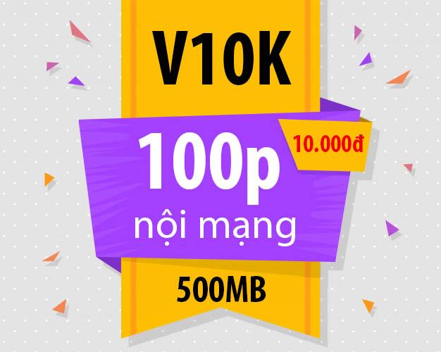 Đăng ký gói V10K Viettel nhận 100 phút nội mạng + 500MB Data / 24h
