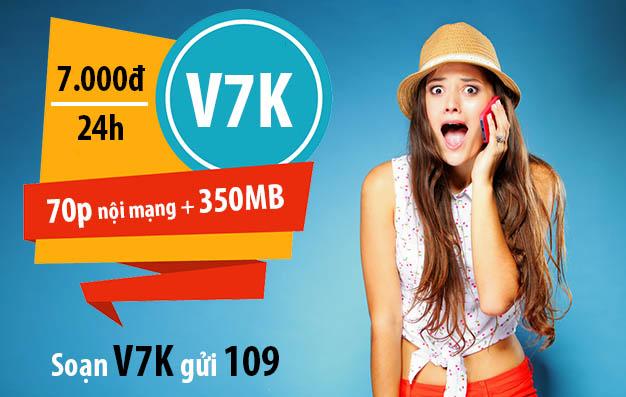 Đăng ký 70 phút gọi nội mạng Viettel + 350MB chỉ 7.000đ/ngày - Gói V7K