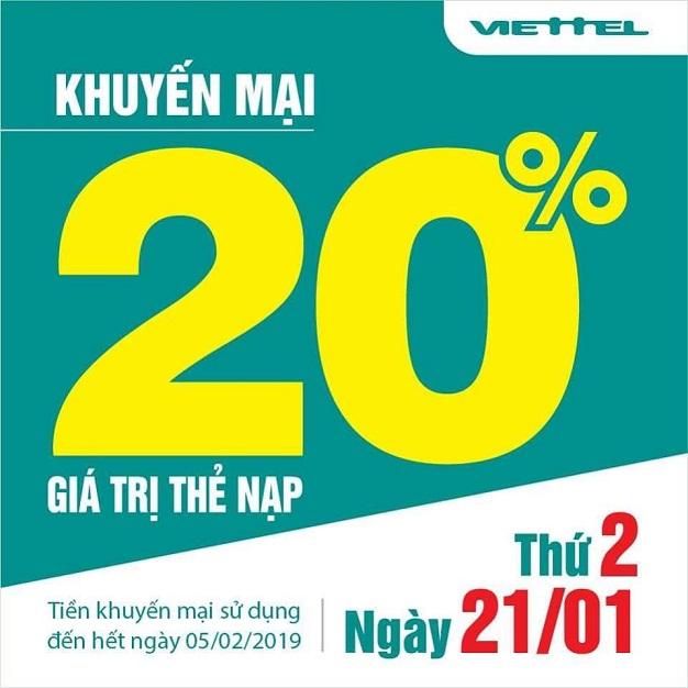 khuyến mãi Viettel tặng 20% giá trị tất cả thẻ nạp duy nhất 21/01/2019
