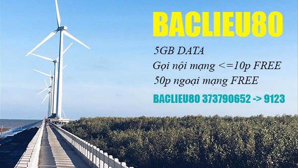 Đăng ký gói BACLIEU80 Viettel miễn phí gọi 30 phút nội mạng + 5GB Data