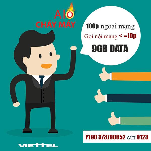 Đăng ký gói F190 Viettel gọi nội mạng miễn phí + 9GB Data tốc độ cao