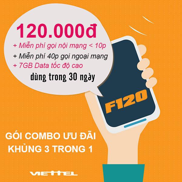 Đăng ký gói F120 Viettel ưu đãi 7GB + Miễn phí cuộc gọi dưới 10 phút