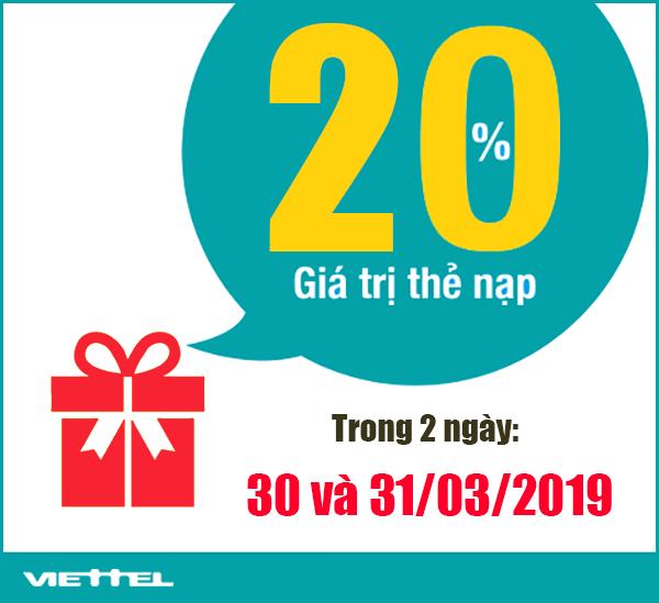 Viettel khuyến mãi tặng 20% giá trị 2 ngày cuối tháng 30-31/03/2019