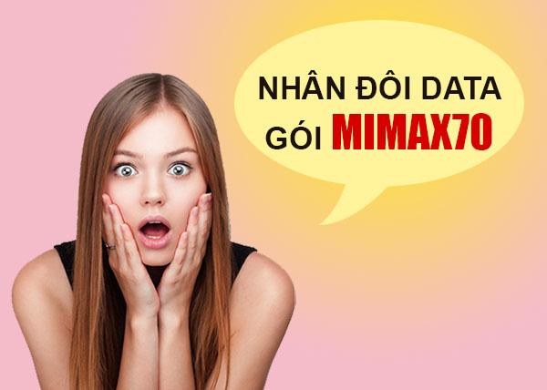 Nhân đôi lưu lượng Data thêm 3GB khi đăng ký Mimax70 Viettel