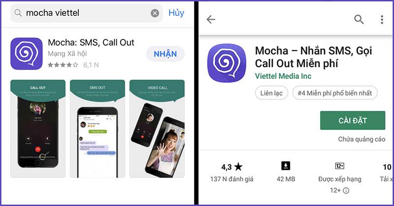 Tải và cài đặt ứng dụng Mocha Viettel cho điện thoại