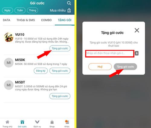 Cách tặng 1GB Viettel cho thuê bao khác bằng ứng dụng My Viettel