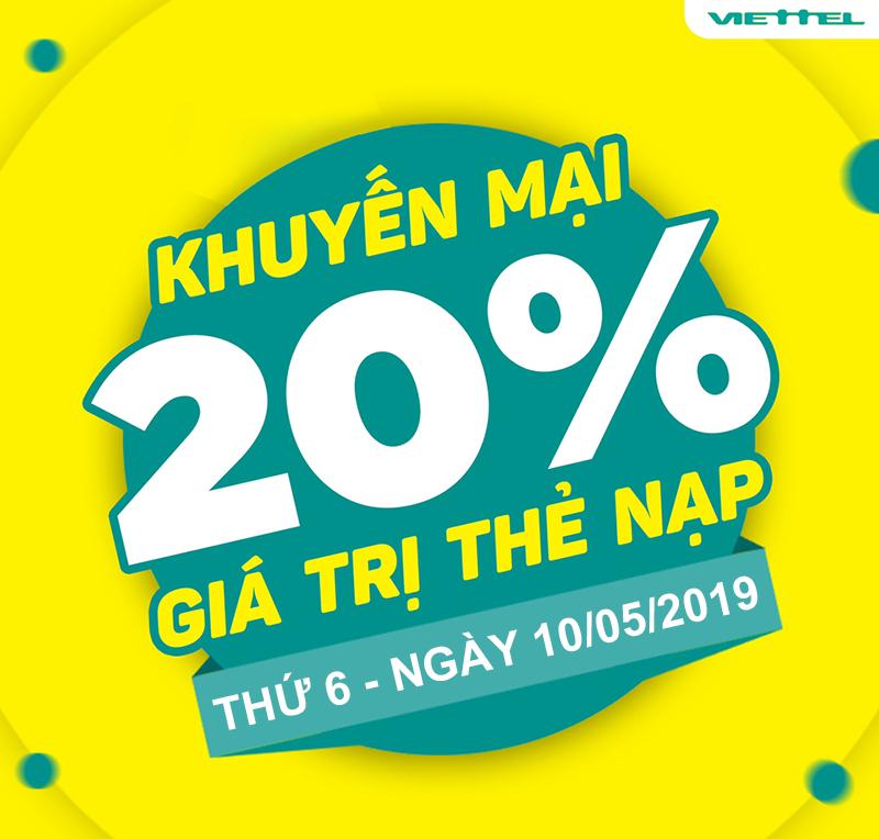 Viettel khuyến mãi tặng 20% giá trị thẻ nạp 10/05/2019
