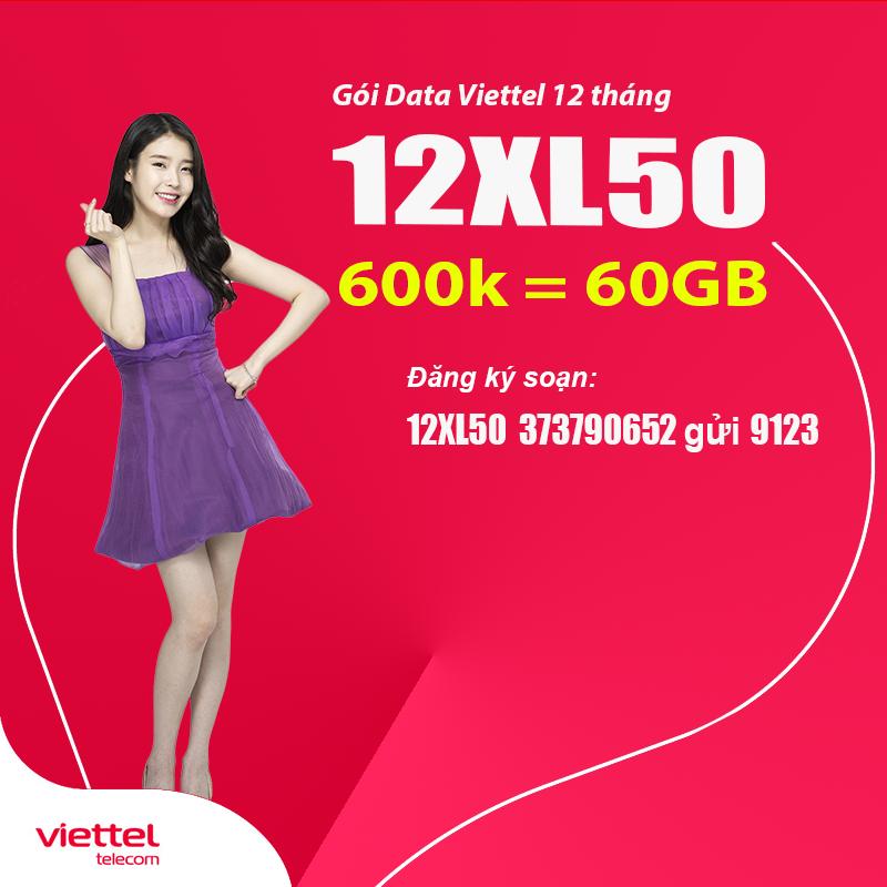 Đăng ký gói 12XL50 Viettel có 5GB Data mỗi tháng trong 1 năm dễ dàng