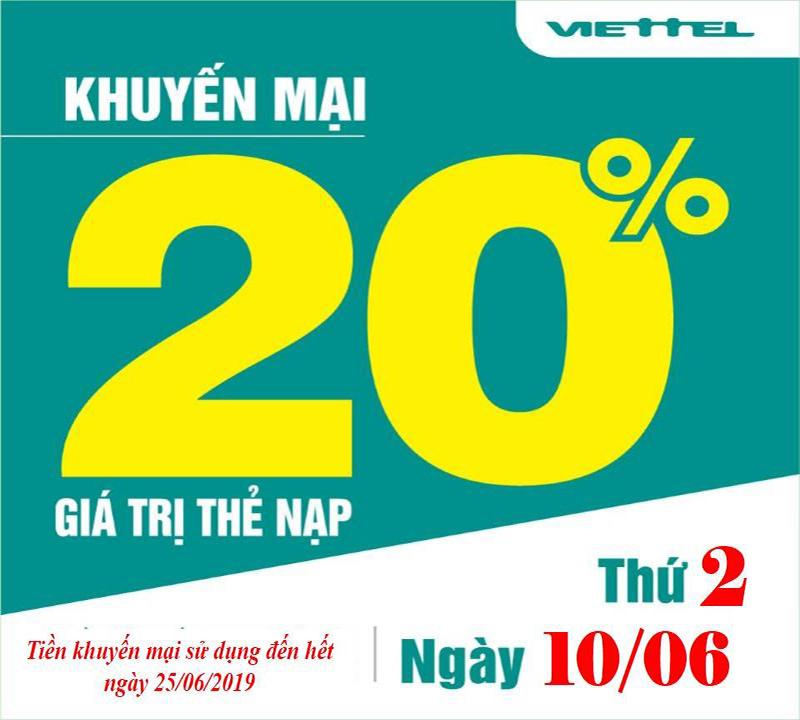 Viettel khuyến mãi tặng 20% giá trị thẻ nạp duy nhất 10/06/2019