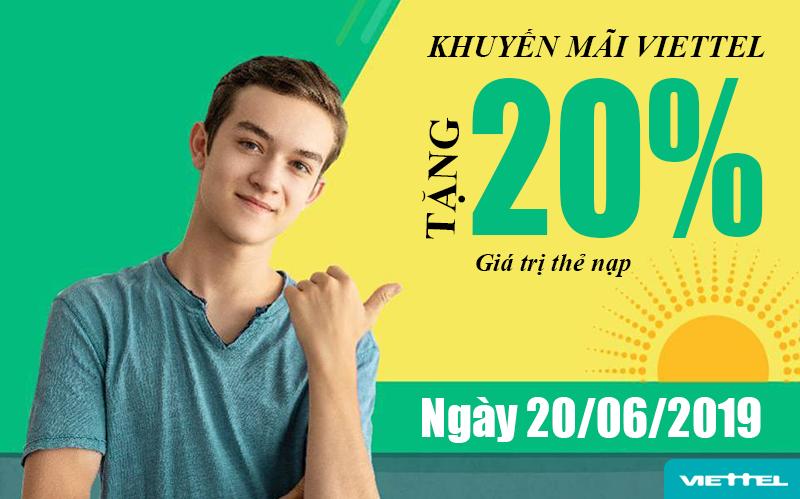 Viettel khuyến mãi tặng 20% giá trị tất cả thẻ nạp ngày 20/06/2019