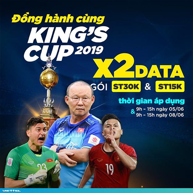 Đồng hành cùng King's Cup - X2 lưu lượng gói ST15K và ST30K Viettel