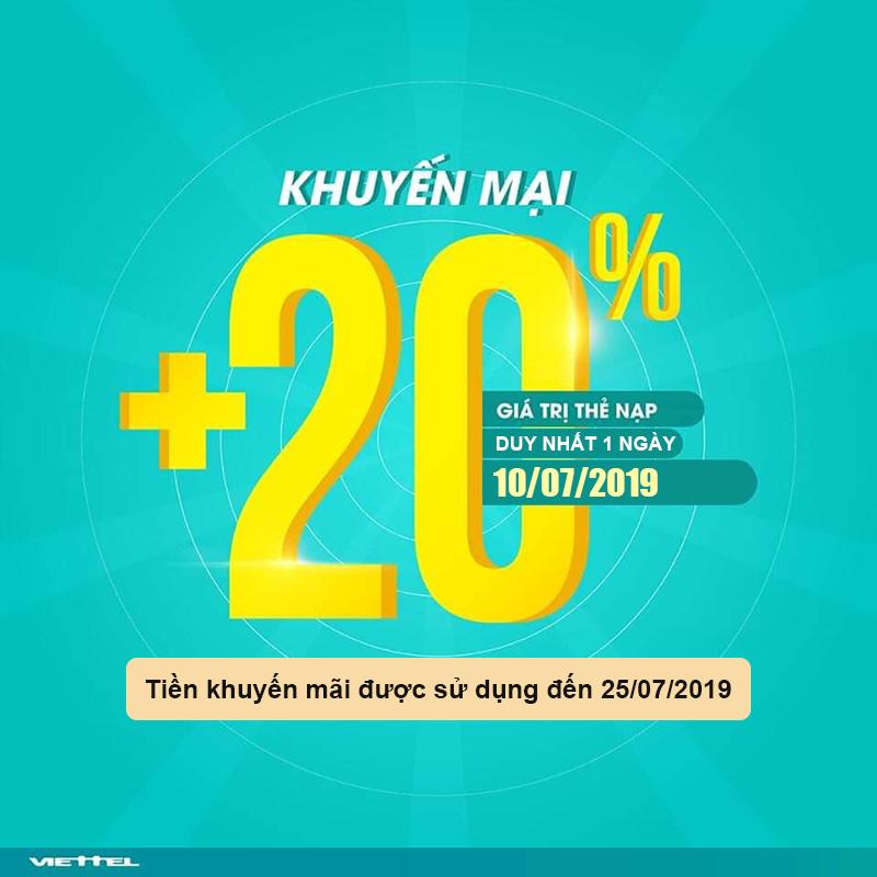 Viettel khuyến mãi tặng 20% giá trị tất cả thẻ nạp ngày 10/07/2019