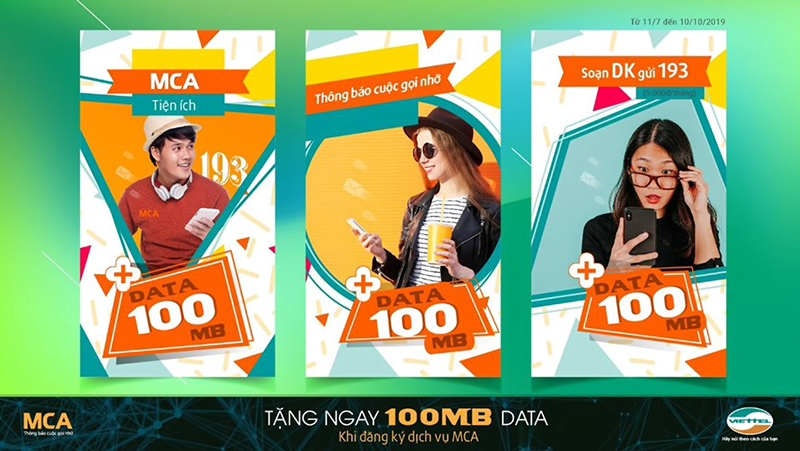 Tặng 100MB Data khi đăng ký MCA Viettel