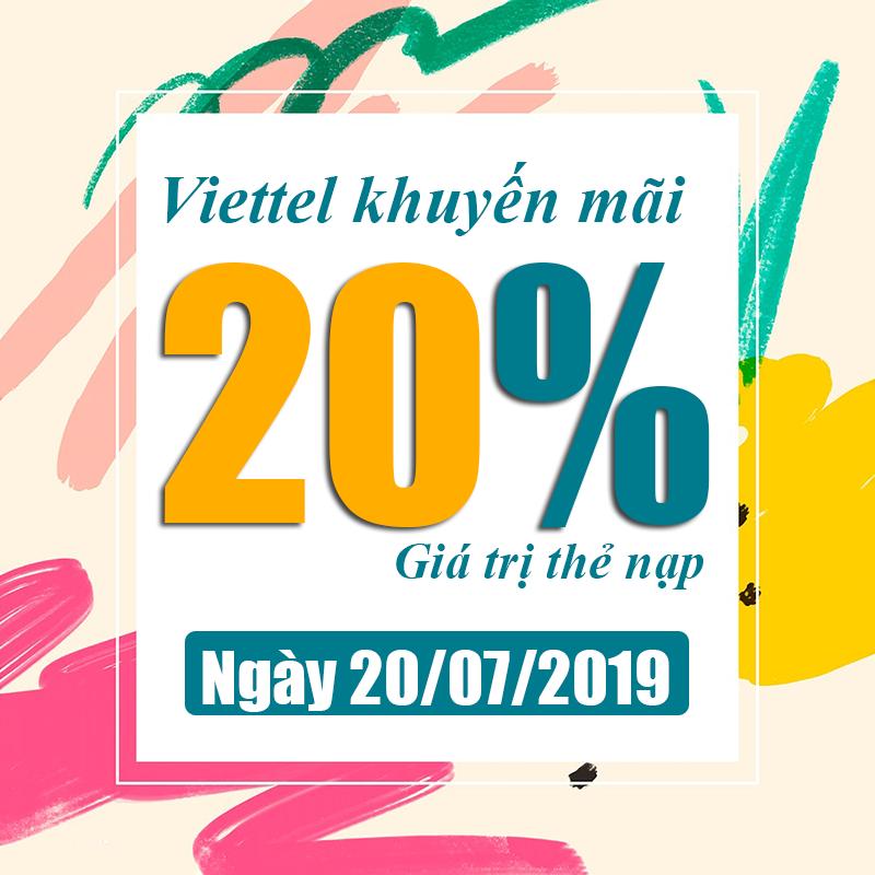 Viettel khuyến mãi tặng 20% giá trị tất cả thẻ nạp ngày 20/07/2019
