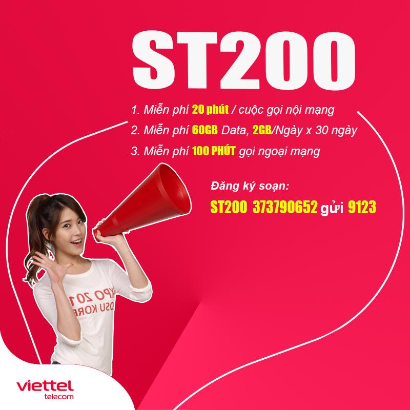 Đăng ký gói ST200 Viettel ưu đãi khủng, xài thả ga