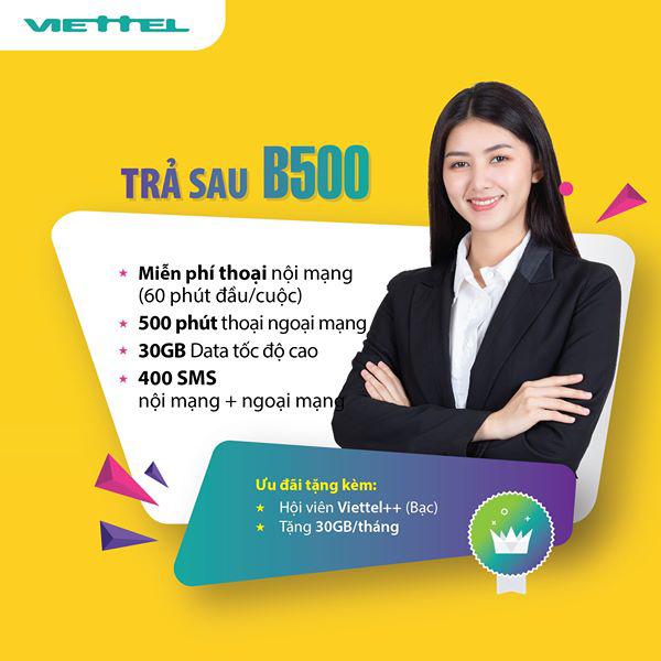 Đăng ký gói cước combo trả sau B500 Viettel nhận ưu đãi khủng