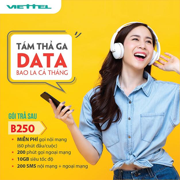 Đăng ký gói Combo trả sau B250 Viettel, Tám thả ga - Data bao la