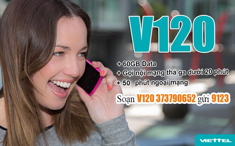 Đăng ký gói cước V120 Viettel nhận ưu đãi khủng