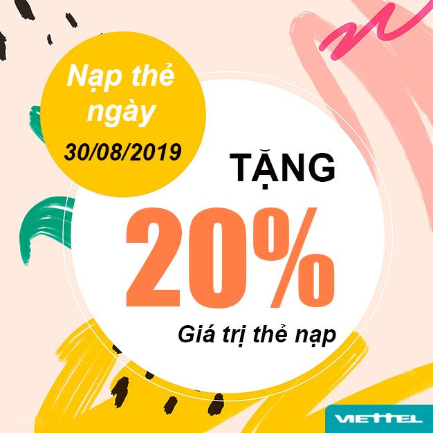 Khuyến mãi Viettel tặng 20% giá trị thẻ nạp ngày 30/08/2019