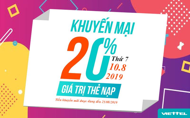 Viettel khuyến mãi tặng 20% giá trị thẻ nạp ngày 10/08/2019