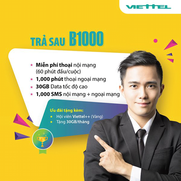 Đăng ký gói trả sau B1000 Viettel trở thành hội viên Viettel++ (VÀNG)