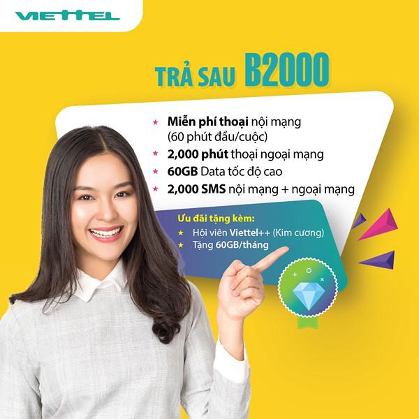 Đăng ký gói trả sau B2000 Viettel trở thành hội viên Viettel++ (Kim Cương)