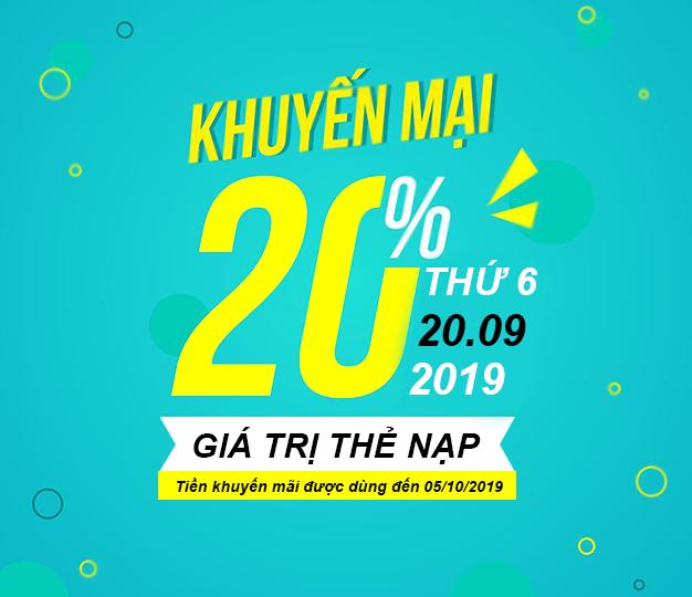 Khuyến mãi Viettel tặng 20% giá trị ngày 20/09/2019