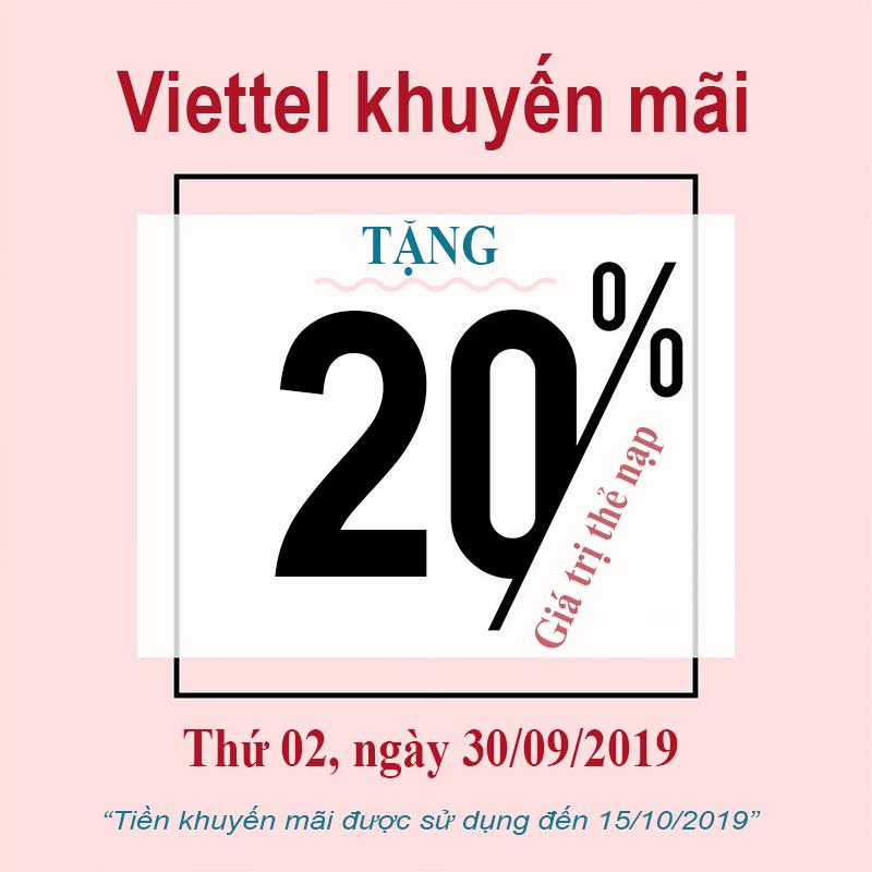 Viettel khuyến mãi 20% giá trị thẻ nạp cuối tháng 30/09/2019