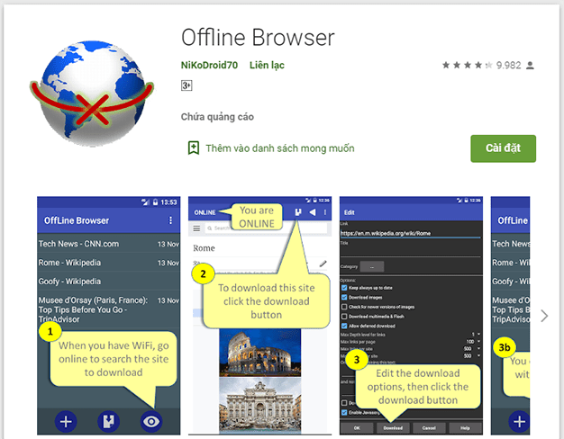 Ứng dụng Offline Browser cho Android
