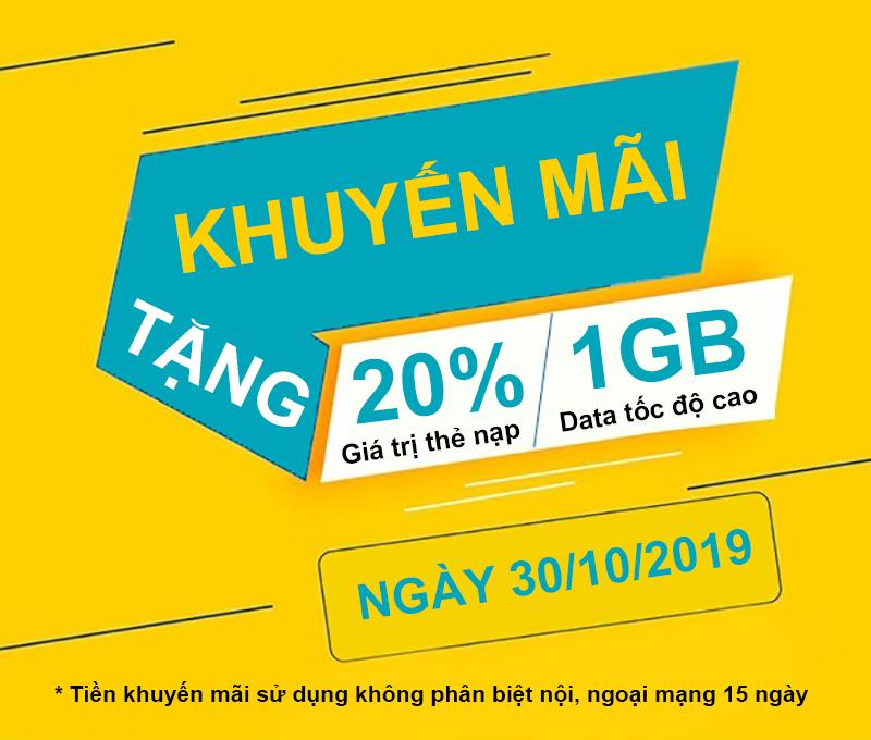 Viettel khuyến mãi tặng 20% giá trị + 1GB Data ngày 30/10/2019