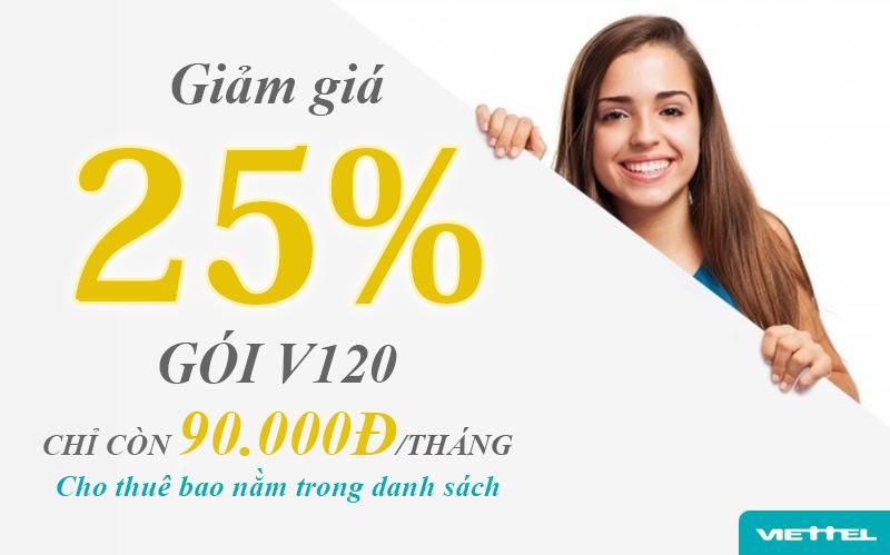 Gói V120 Viettel giảm giá còn 90.000đ