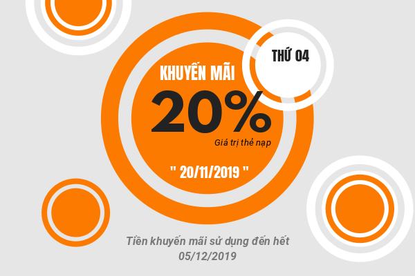 Khuyến mãi Viettel tặng 20% giá trị ngày vàng 20/11/2019