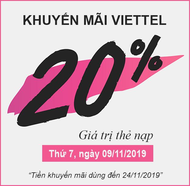 Khuyến mãi Viettel tặng 20% giá trị thẻ nạp thứ 07, ngày 11/09/2019