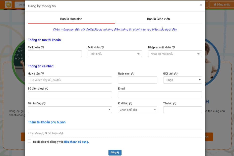Đăng ký tài khoản VIETTEL STUDY trên website thật dễ dàng