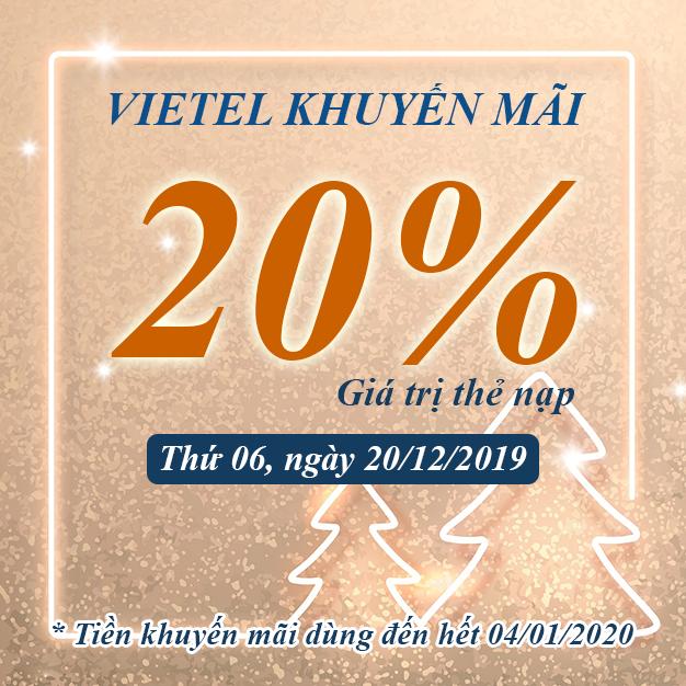 Khuyến mãi Viettel tặng 20% giá trị 20/12/2019